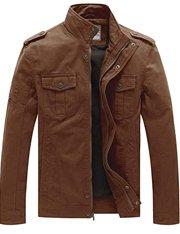 Chaqueta de piel color marrón estilo trucker para hombre
