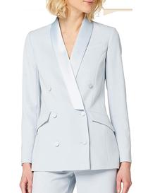 Chaqueta de traje para mujer azul pastel con botones
