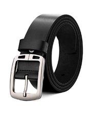 Cinturón de cuero negro hebilla de aleación de zinc para hombre
