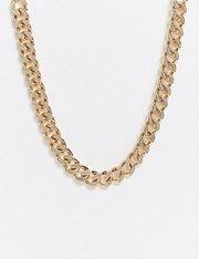 Collar con cadena barbada y detalles de cristal de efecto helado en dorado de mujer