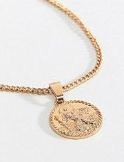 Collar con colgante de moneda en dorado mujer