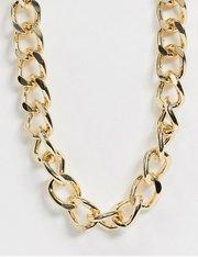 Collar en tono dorado con cadena barbada de eslabones de 17 mm