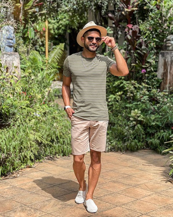 Ideas de outfits hombre para soportar el calor con camiseta de manga corta y shorts