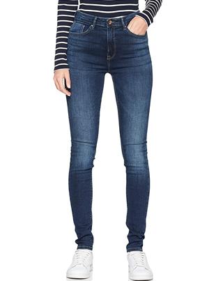 Jeans azul oscuro cintura alta mujer