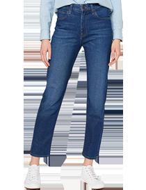 Jeans de mujer pernera recta en algodón y poliéster