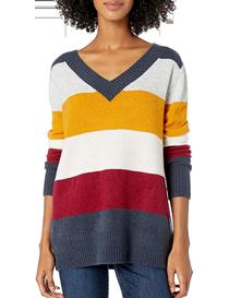 Jersey a rayas de colores con cuello en V para mujer