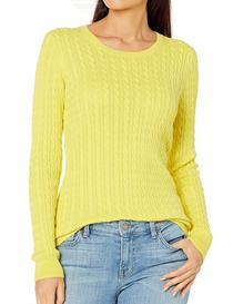 Jersey amarillo con diseño de ochos cuello redondo mujer