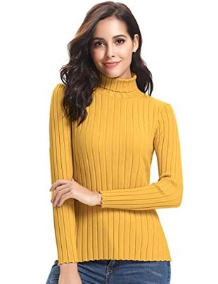 Jersey amarillo de cuello vuelto de punto de canalé para mujer