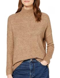 Jersey ancho con cuello alto color beige para mujer