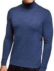 Jersey azul de algodón cuello alto para hombre