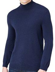 Jersey azul marino de algodón cuello alto para hombre