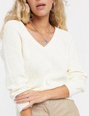Jersey con cuello de pico en blanco mujer