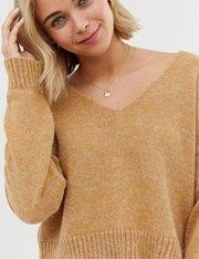 Jersey corto de hilo esponjoso con escote mujer