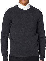 Jersey de algodón cuello redondo gris charcoal de hombre