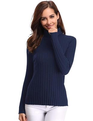 Jersey de cuello alto azul para mujer