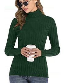 Jersey de cuello vuelto verde pull over para mujer