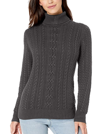 Jersey de ochos cuello vuelto color gris en algodón para mujer