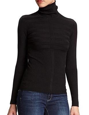 Jersey negro de cuello vuelto de canalé para mujer