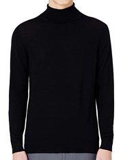 Jersey negro de cuello vuelto en lana para hombre