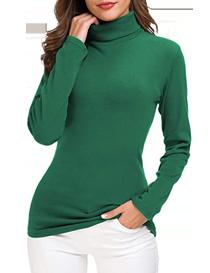 Jersey verde fino de cuello alto para mujer