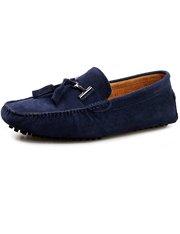 Mocasines de ante en azul marino con borlas y suela de caucho para hombre