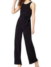 Mono negro elegante de noche sin mangas para mujer