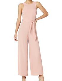 Mono rosa sin mangas de espalda abierta con lazo para mujer