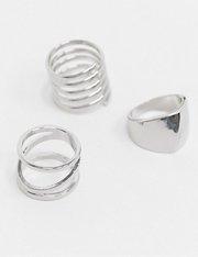 Multi-pack de 3 anillos apilables en plateado de mujer