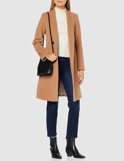 Outfit abrigo camel mujer