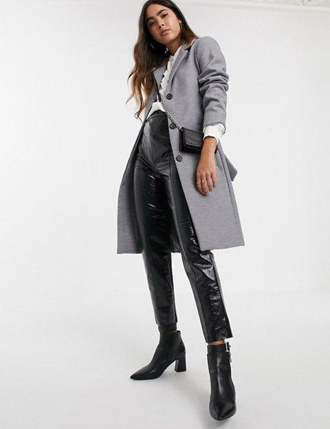 Outfit abrigo gris largo mujer