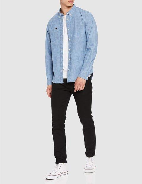 Outfit camisa denim hombre azul claro