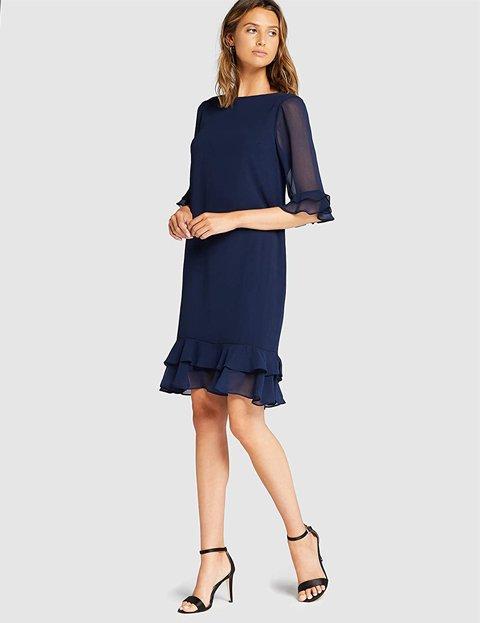 Outfit casual elegante mujer vestido azul