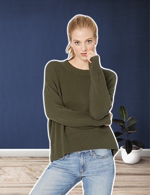Outfit casual juvenil mujer con jersey