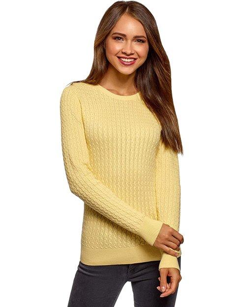 Outfit con jersey amarillo con diseño de ochos mujer