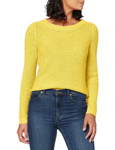 Outfit con jersey amarillo de punto abierto cuello redondo para mujer