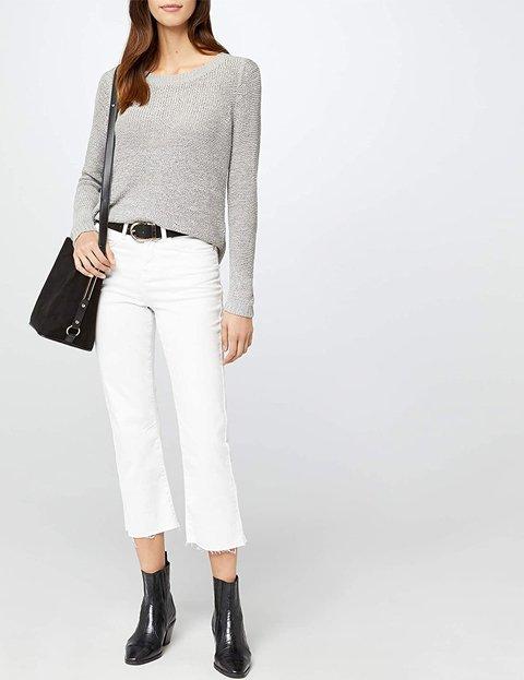 Outfit con jersey gris de punto abierto para mujer