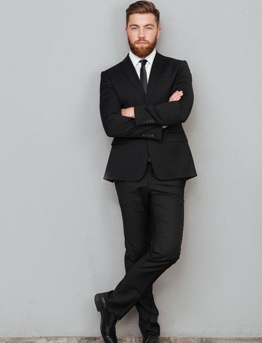 Outfits elegantes hombre de moda con traje de chaqueta