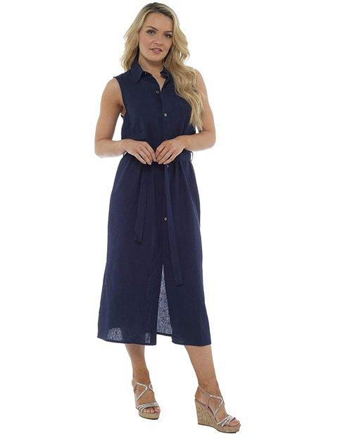 Outfit elegante mujer con vestido azul