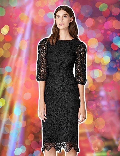 Outfit elegante mujer vestido espalda abierta de encaje