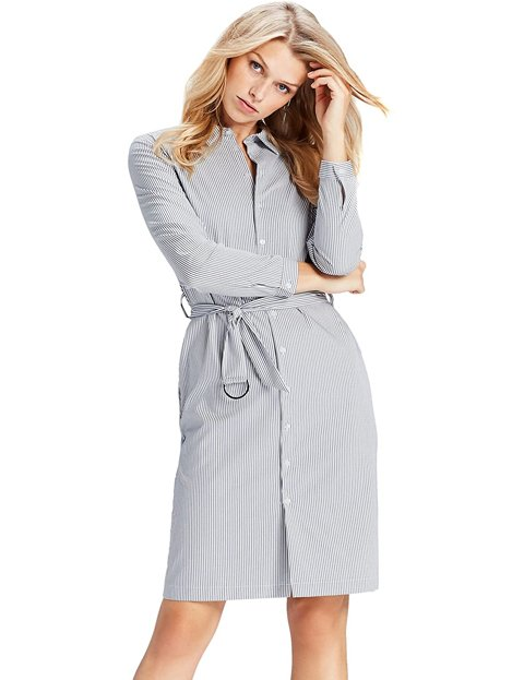 Outfit formal mujer vestido a rayas verticales