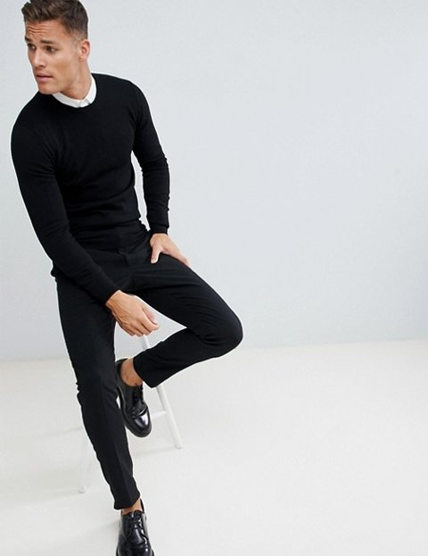 Outfit hombre jersey negro lana