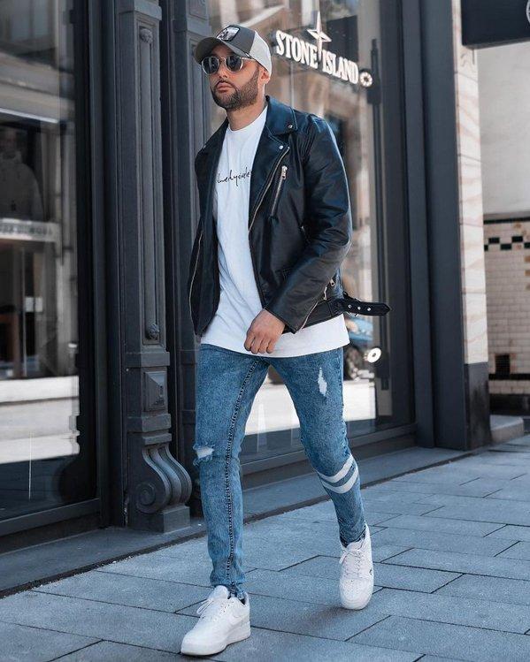 Outfit inspo look moderno y actual con chaqueta de cuero