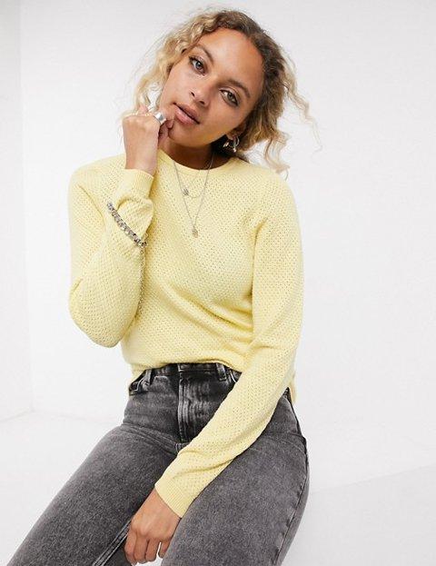 Outfit jersey amarillo de punto abierto mujer