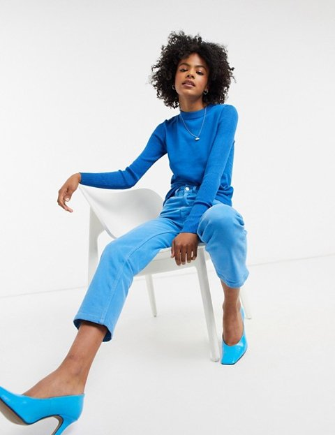 Outfit jersey azul cobalto mujer