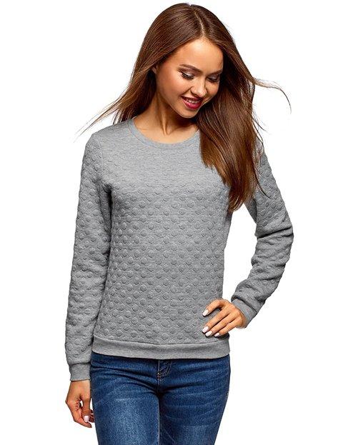 Outfit jersey gris con tejido texturizado para mujer