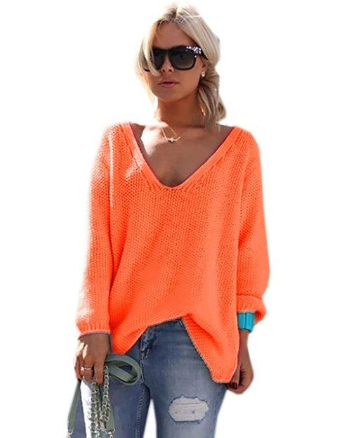 Outfit jersey naranja de punto estilo ancho para mujer