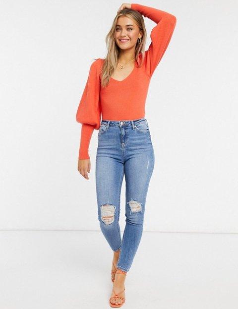 Outfits con jerséis para mujer naranja pomelo con manga globo