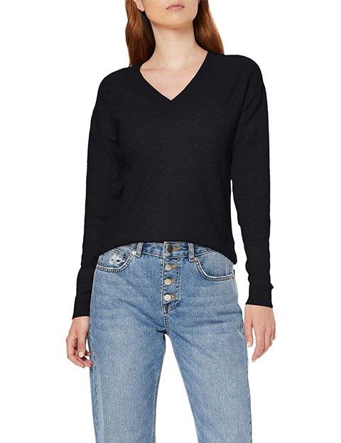 Outfit jersey negro mujer cuello de pico