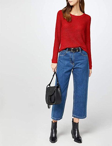 Outfit jersey rojo de punto abierto cuello redondo mujer
