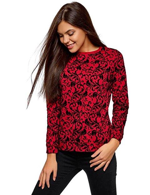 Outfit jersey rojo estampado de mujer